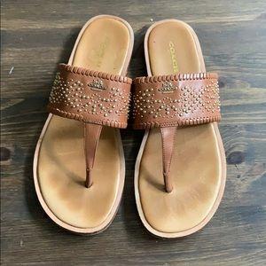 Coach Brown Leather Studded Flip Flop Sandals